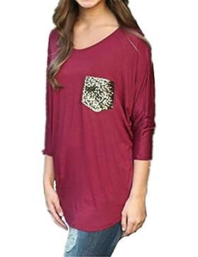 BESTHOO T-Shirt Maliga Camicetta Sexy Casual Eleganti Elegante Pipistrello Manica Moda Maglietta Donna