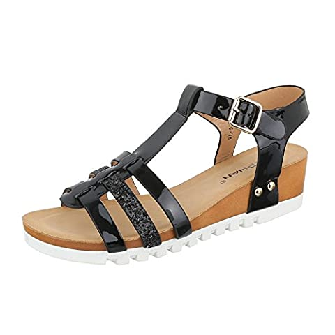 Keilsandaletten Damen Schuhe Plateau Keilabsatz/ Wedge Keilabsatz Schnalle Ital-Design Sandalen / Sandaletten Schwarz, Gr 39,