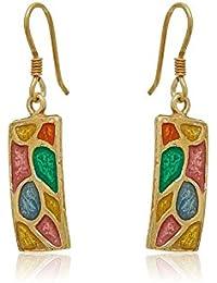 Córdoba Jewels | Pendientes en plata de Ley 925 bañado en oro y Esmalte. Diseño Vidriera Oro