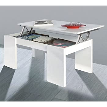 Due home innovations kendra table basse blanc avec plateau for Kendra table basse