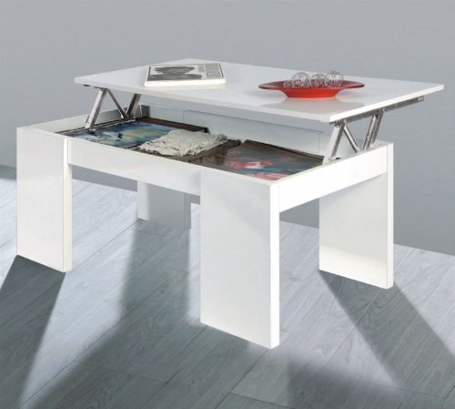 Due-home innovations Kendra Table Basse Blanc Avec Plateau Relevable Blanc