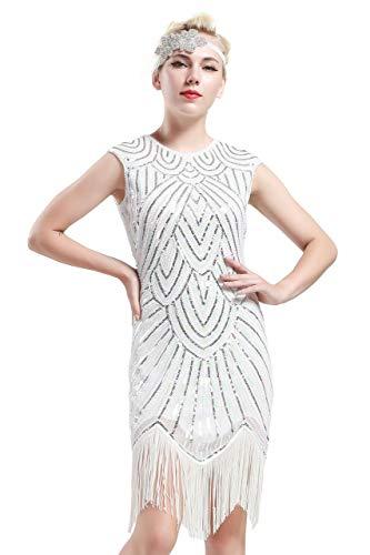 Damen Kostüm Tanzen 9 - BABEYOND Damen Kleid voller Pailletten 20er Stil Runder Ausschnitt Inspiriert von Great Gatsby Kostüm Kleid  (M (Fits 72-82 cm Waist & 90-100 cm Hips), Weiß)