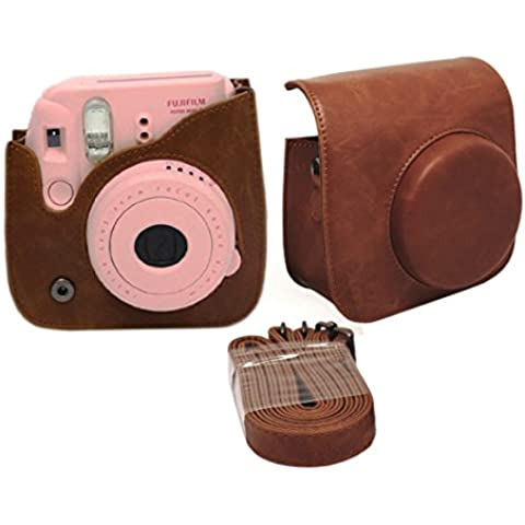 EchoAcc® PU Cuero sintético de Bolsa para Fujifilm Instax Mini 8 cámara - Marrón