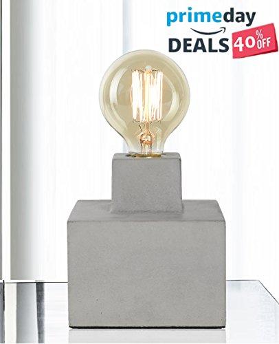 Lampada da tavolo da scrivania in cemento stile industriale vintage con lampadina filamento 40w col. grigio