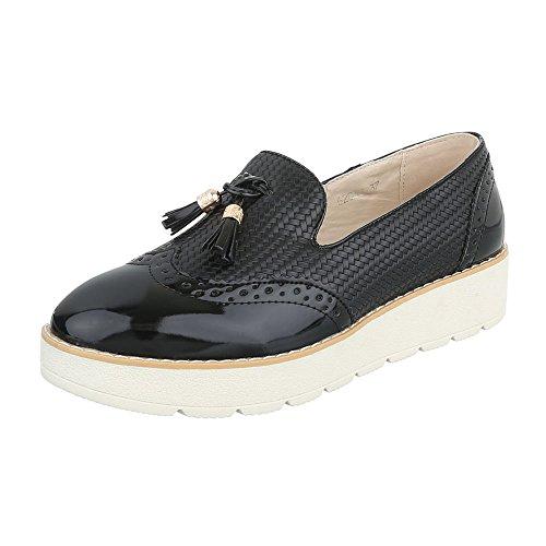 Ital-Design Slipper Damen-Schuhe Low-Top Slipper Halbschuhe Schwarz, Gr 39, 62038-