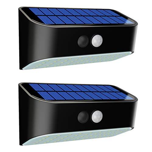 FRISTONE Solarlampen für außen mit Bewegungsmelder 45 Led IP65 Wasserdicht Super Helle Wandlampe Kaltweiß 2 Stück 5,5V 2200mAh Klein
