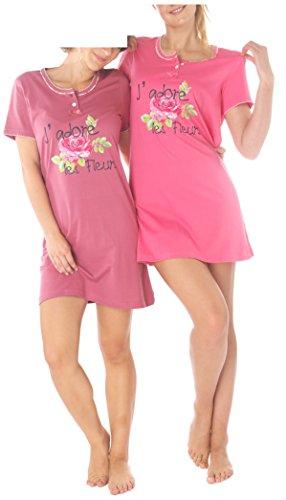 Consult-Tex Damen Kurzarm Nachthemd Baumwolle 2 Stück Packung Knopfleiste DW903 44/46 (Stück 2 Nachthemd)