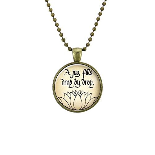 Go Forward Exquisite Necklace,Buddhist Saying Necklace,Jug Drop by Drop,Zen Buddha Quote Yoga Jewelry,Buddha Amulet