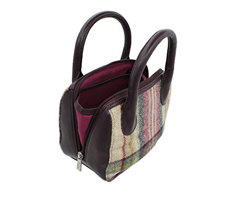 Borsetta a Mano in Pelle e Tweed Mala Leather Collezione ABERTWEED 7101_40 Punto di prugna Prugna