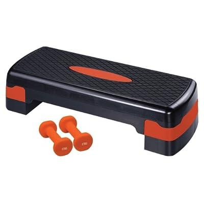 Ultrasport Aerobic Step / Steppbrett / Aerobic Fitness Stepper inkl 2x 0.75 kg Vinylhanteln, höhenverstellbar