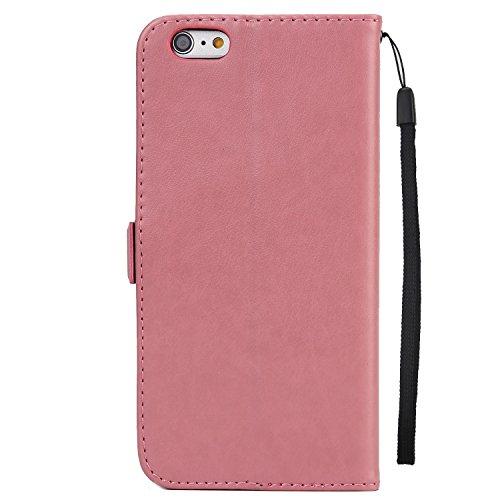 EKINHUI Case Cover Fairy Girl & Flowers Embossing Style Synthetik Leder Tasche Horizontale Flip Stand Brieftasche Tasche mit Lanyard & Card Slots für iPhone 6 Plus & 6s Plus ( Color : Blue ) Pink