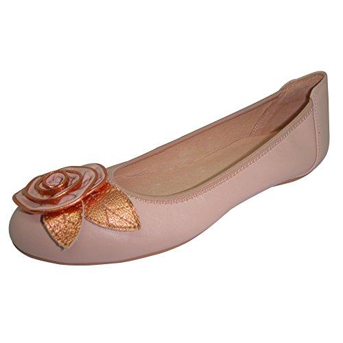 Signore Mocassini In Pelle Pantofola Fiori Pieghevoli Manuali Nero Bianco Rosa 37 - 41 20521-2 (si Prega Di Essere Sicuri Di Seguire Limmagine A Sinistra Per Determinare La Lunghezza Del Piede) Rosa