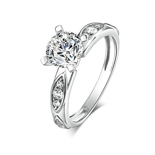 Daesar Silberring Damen Ring Silber Ehering für Damen Verlobungsring Benutzerdefinierte Ring Runde Zikonia Ring Größe:58 (Kostüme Design Benutzerdefinierte Schmuck)