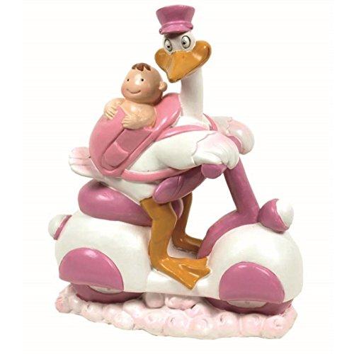 Figure Cake Baptism Cigüena rosa bebe moto