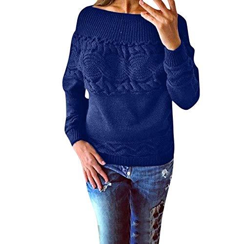 FuweiEncore Pullover Sweater Damen Sweatshirt, Bluse Winter Frauen Winter Gestrickte Einfarbig Trägerlosen Trägerlosen Verdrehten Langarm Strickjacke T-Shirt (Farbe : Blau, Größe : XL)