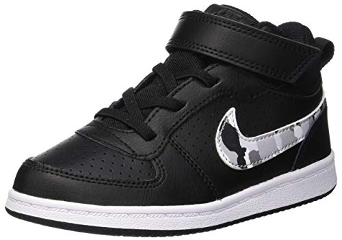 Nike Unisex-Kinder Court Borough Mid (TDV) Basketballschuhe, Mehrfarbig (Black/Multi-Color-Pure Platinum-White 008), 23.5 EU