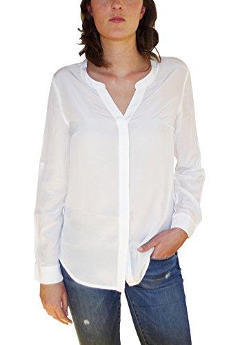 Posh Gear Damen Seidenbluse camicetta Bluse Aus 100% Seide, Weiß, Größe L (Seide Weiße Tunika)
