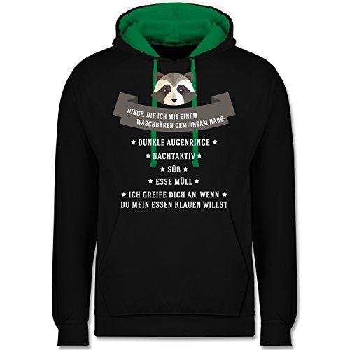 Statement Shirts - Waschbär Gemeinsamkeiten - Kontrast Hoodie Schwarz/Grün