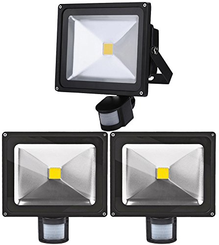 3X 30W LED Strahler mit Bewegungsmelder Außen Fluter 3000K Warmweiss Außenleuchte IP65 Wasserdicht Scheinwerfer für Garten,Garage,Hotel