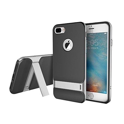 Hülle für iPhone 7 plus , Schutzhülle Für iPhone 7 Plus Business Style TPU + PC Schutzhülle mit Halter ,hülle für iPhone 7 plus , case for iphone 7 plus ( Color : Black ) Grey