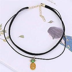 Tery Elegante Collar Precioso Collar Colgante de la clavícula de la Fruta de la Manera de Las Mujeres - piña