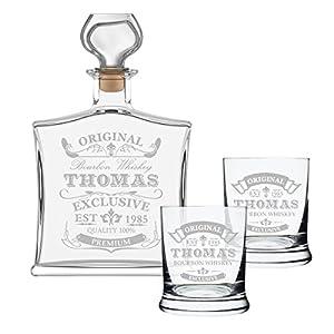 3-teiliges Geschenk-Set mit Whiskyflasche und 2x Gläser inkl. Gravur - Motiv -