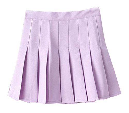 Yasong Women Girls Short High Waist Pleated Skater Tennis Skirt School Skirt Uniform With Inner Shorts Purple UK 8