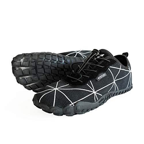 Ventury Zero Trail-Laufschuhe - Minimalistische Barfußschuhe mit viel Zehenfreiheit und Geruchsloser Nullabsatz-Sohle mit Echtem Silber für Damen und Herren (246MM - EU 38, Schwarz)
