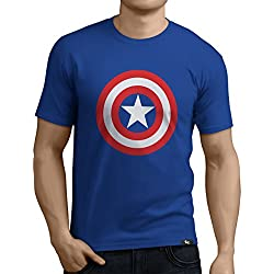Tuning Camisetas Camiseta Divertida Para Hombre - Modelo CapitanAmericaescudo, Color Azul- Talla L (0182-Azul-Capitan-America-escudo-L)