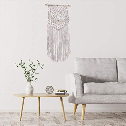 Ganmaov Makramee Wandbehang Boho Wanddeko Wandteppiche aus Baumwolle Handgefertiges Dekorativer Beiger für Wohnzimmer Dekoration (Beige) Impart -
