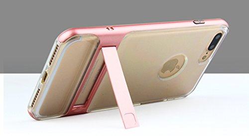 Apple iPhone 7 Hülle - Versteckte Halter Stoßfest Transparent Telefonkasten für Apple iPhone 7 Smartphone - Pink Pink