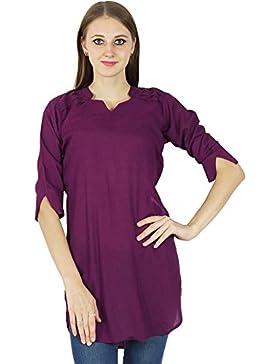 Sólido Algodón Kurti vestido ocasional de India étnicas Bollywood Top túnica de las mujeres Kurta