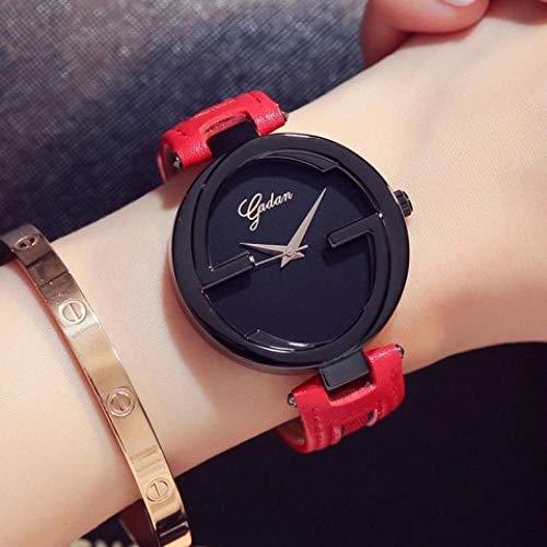 Quarzuhr Uhr Weiblicher Gürtel Einfacher Modetrend Großes Zifferblatt Weibliche Uhr Wasserdicht Freizeit Wilde Atmosphäre Modeuhr Schwarze Scheibe Rotes Band -
