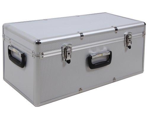 Preisvergleich Produktbild Ondis24 geräumiger Aufbewahrungskoffer Lagerkoffer Transportkoffer Alukoffer-Optik S silber mit Innenpolsterung abschließbar …