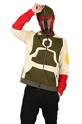 osplay Kostüm Erwachsene Herren Dunkel Grün & Beige Baumwolle Zip Up Jacke Sweatshirt Merchandise (Boba Fett Cosplay Kostüme)