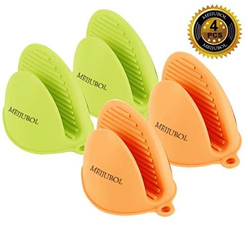 MEIJUBOL Silikon Ofen Topflappen Handschuhe Set von 2 Paare (Grün und Orange) Hitzeresistent für küche Kochen Backen Finger schützen Von Heiße Platte Dish und Schüssel - Topflappen