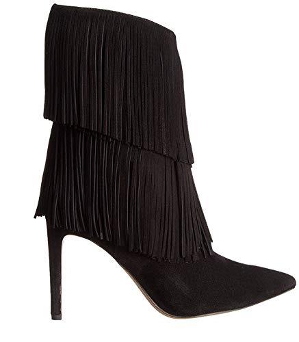 HOESCZS Botas De Mujer Women's Botas Con Flecos Botas De Tacón Alto Botas De Mujer Hechas A Mano De Otoño E Invierno Botas De Tacón De Aguja Acentuadas Zapatos Únicos Originales De Commuter, Negro, 39