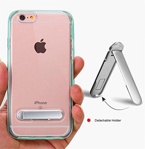 IPhone 6 u. 6s Fall TPU + PC transparenter kombinierter rückseitiger Abdeckungs-Fall mit magnetischem Halter für iPhone 6 u. 6s Fall by diebelleu ( Color : Silver ) Rose gold