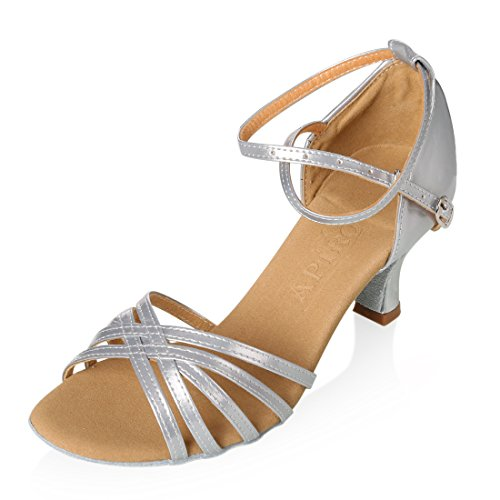 APTRO Damen Ballsaal Latin Tanzen Silber Sandalen 38.5(Asia 40)