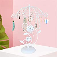 Jewelry Display Stand,Hanging Jewelry Organizer Display Holder with Ring Tray to Organize Necklaces Bracelets Earrings Rings and Watches Jewelry Stand White
