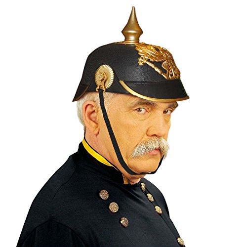 Uniform Helm Kostüm - Amakando Preußische Pickelhaube Bismarck Pickel Helm Preußen Pickelhelm Militär Kopfbedeckung Ritter Faschingshelm mit Spitze Uniform Mottoparty Accessoire Karneval Kostüm Zubehör