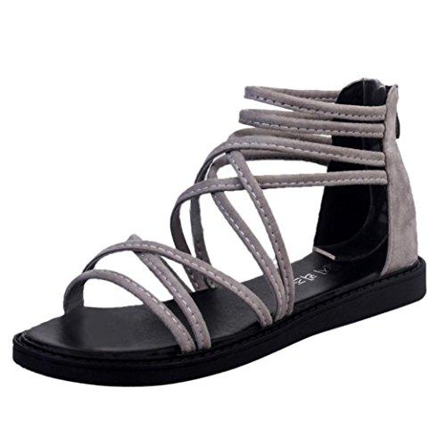 Transer® Damen Sandalen Flach Anklestrap Kreuzgürtel Künstliches PUGummi  Grau Schwarz Sommer Stiefel Bitte achten Sie auf die Größentabelle Bitte  eine ... 95659cb797