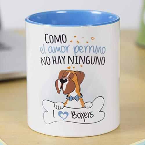 La Mente es Maravillosa - Taza con frase y dibujo divertido sobre Perro - Regalo original de MASCOTA (Taza Bóxer)