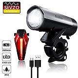 Fahrradlichter Set, LED Fahrradbeleuchtung StVZO Zugelassen USB Wiederaufladbare mit 2600 Samsung Li-ion, CREE LED, Fahrradlampe Frontlicht/Rücklicht für Radfahren