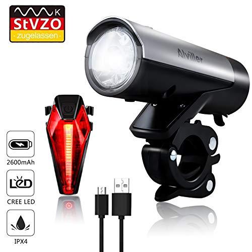 Fahrradlichter Set, LED Fahrradbeleuchtung StVZO Zugelassen USB Wiederaufladbare mit 2600 Samsung Li-ion, CREE LED, Fahrradlampe Frontlicht/Rücklicht für Radfahren - Bv Led