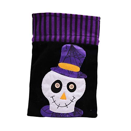 bare Vlies Tasche Kinder Dekorative Requisiten Verkleiden Sich Zubehör Kürbis Tasche Geschenk Tasche Candy Tasche Requisiten Tasche 4 Pack,Skull (Candy Skull Dress Up)