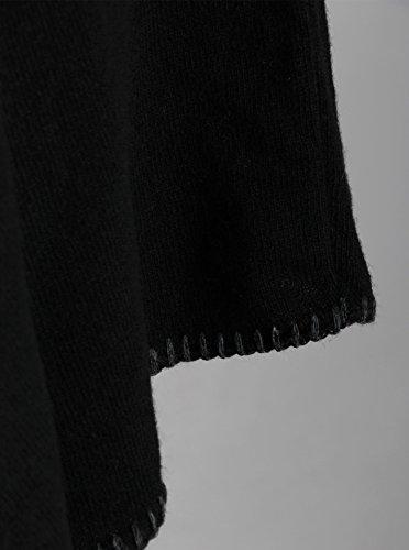 Poncho-Schal mit Kaschmir - Hochwertiges Cape für Damen - XXL Umhängetuch und Tunika - Strick-Pullover - Sweatshirt - Stola für Sommer und Winter von Cashmere Dreams - Zwillingsherz Schwarz_schwarz