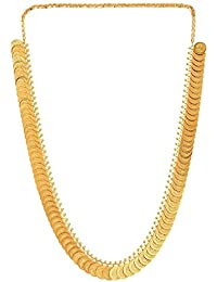 Youbella Jewellery Gold Plated Traditional Long Temple Coin Necklace Set For Women And Girls