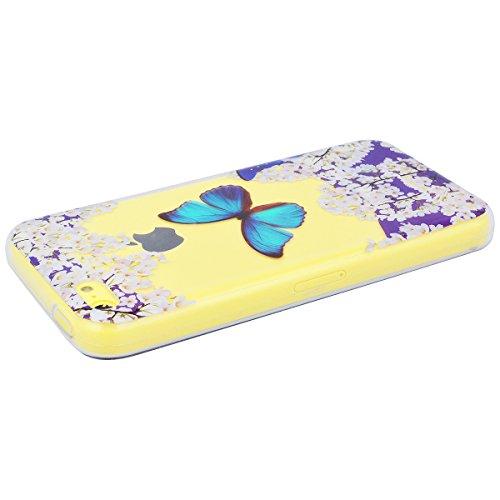 GrandEver iPhone 5C Handyhülle Weiche Silikon Hülle TPU Bumper Schutzhülle für iPhone 5C Rückschale Klar Handytasche mit Muster Anti-Kratzer Stoßdämpfung Ultra Slim Rückseite Silicon Backcover Soft Ca Schmetterling