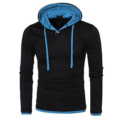Herren Sweatshirt Longra Herren Kapuzenpullover Langarmshirt Warm Hooded Casual Outwear Sport Tops (3XL, Blue)